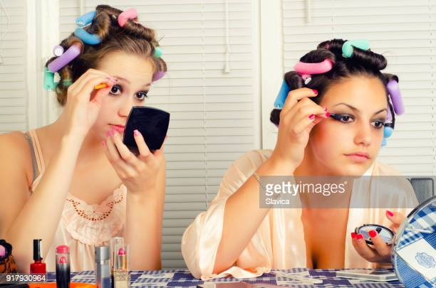 Housewives beautifying themselves at home