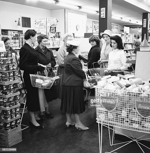 Housewives in search of a bargin at the Premier supermarket in North Finchley 20th June 1959