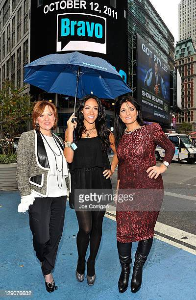 Housewives of New Jersey cast member's Caroline Manzo Melissa Gorga and Kathy Wakile outside after the opening bell at NASDAQ on October 12 2011 in...