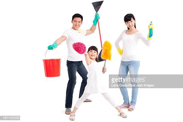 housework time - kids with cleaning rubber gloves stock pictures, royalty-free photos & images
