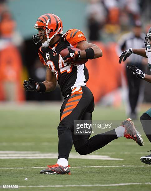 J Houshmandzadeh of the Cincinnati Bengals runs with the ball during the NFL game against the Philadelphia Eagles at Paul Brown Stadium on November...