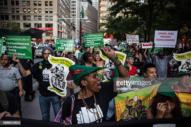 Housing activists march from Zuccotti Park to New York City's City Hall to demand more affordable housing options for the homeless and poor on...