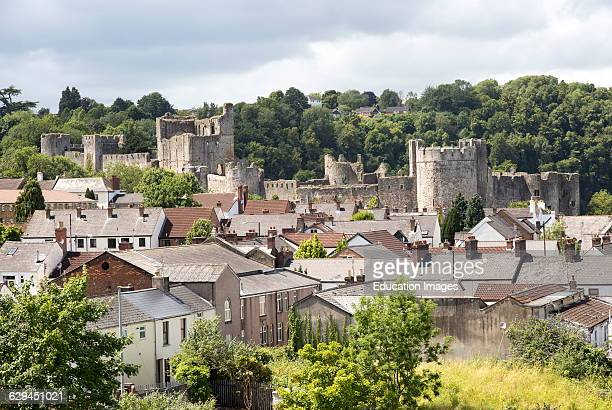 Housing and castle in town of Chepstow Monmouthshire Wales UK