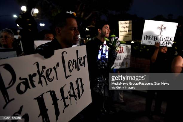 Housing and homeless advocates funeral procession and Candlelight March to mourn the destruction of the former LA police headquarters between the The...