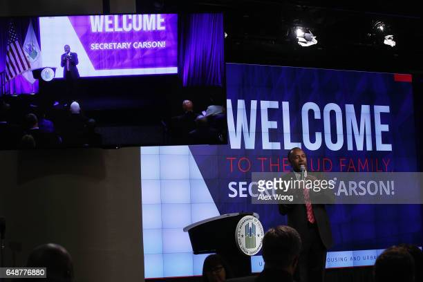 S Housing and Urban Development Secretary Ben Carson addresses his employees March 6 2017 in Washington DC Secretary Carson addressed HUD employees...