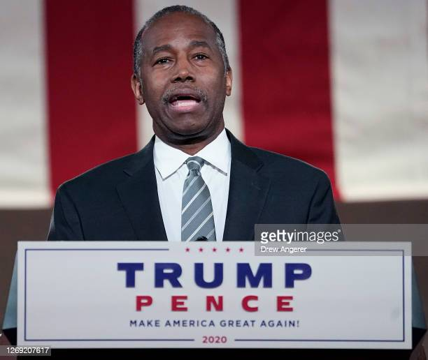 Housing and Urban Development Secretary Ben Carson addresses the virtual Republican National Convention at the Andrew W. Mellon Auditorium on August...
