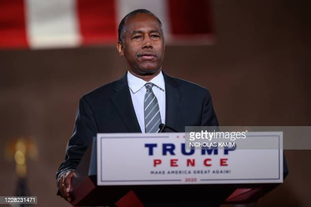 Housing and Urban Development Secretary Ben Carson speaks during the final day of the Republican National Convention at the Mellon Auditorium on...