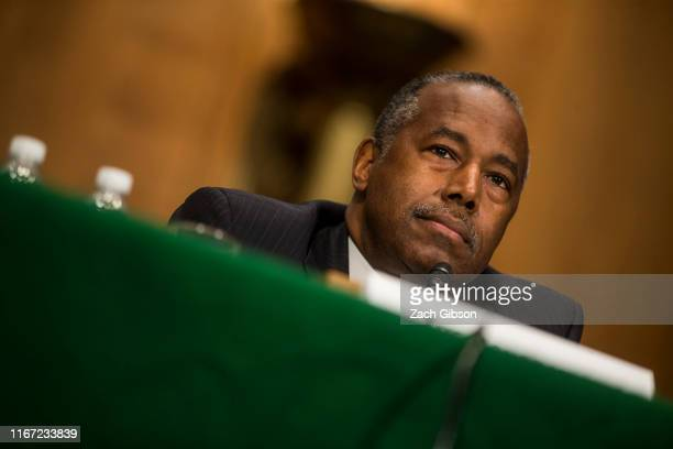 Housing and Urban Development Secretary Ben Carson testifies during a Senate Banking, Housing, and Urban Affairs Committee hearing on September 10,...