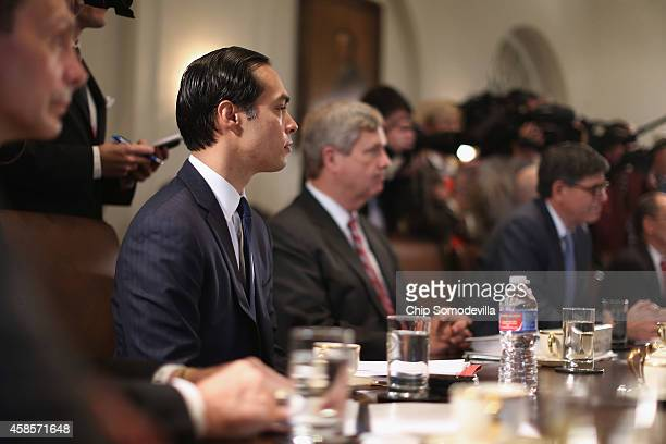 Housing and Urban Development Secretary Julian Castro Agriculture Secretary Tom Vilsack and others members of US President Barack Obama's cabinet...