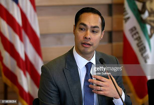 Housing and Urban Development secretary Julian Castro speaks during a round table discussion after touring a new affordable housing facility on April...