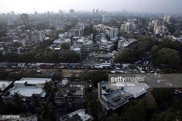 Housing buildings Aerial View of Mumbai King Circle garden Maheshwari Udyan in Matunga