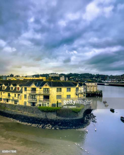 housing by the river in waterford, ireland - county waterford ireland stock pictures, royalty-free photos & images