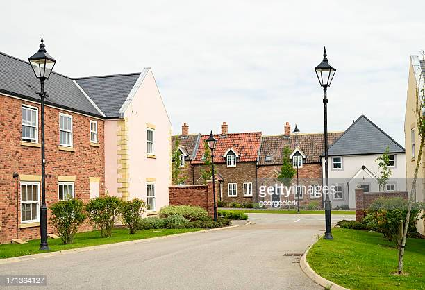 housing development in traditional english design - british culture stock pictures, royalty-free photos & images
