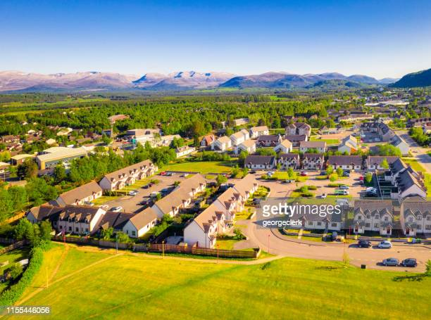 housing development near aviemore in scotland - village stock pictures, royalty-free photos & images