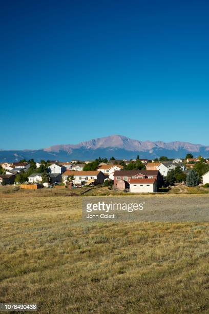 housing development, pikes peak, rocky mountains, colorado springs, colorado, - boulder county stock pictures, royalty-free photos & images