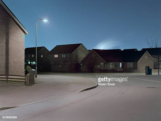 housing estate at night - port talbot stock pictures, royalty-free photos & images