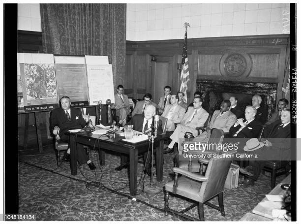 Housing hearing 20 May 1952 Officer JH SteinCrowds gather at Mayor Bowron's Office protestingHoward L HoltzendorffLeo Vie George A Beaver Junior...