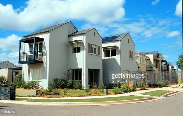 Housing is constructed in the Olympic Village in Sydney, Australia to accommodate athletes from all over the world, March 30, 2000 . The houses have...