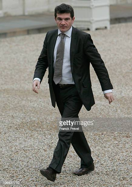 Housing Junior Minister Benoist Apparu arrives to take part in the first ministers' weekly cabinet meeting after the cabinet reshuffle at Elysee...