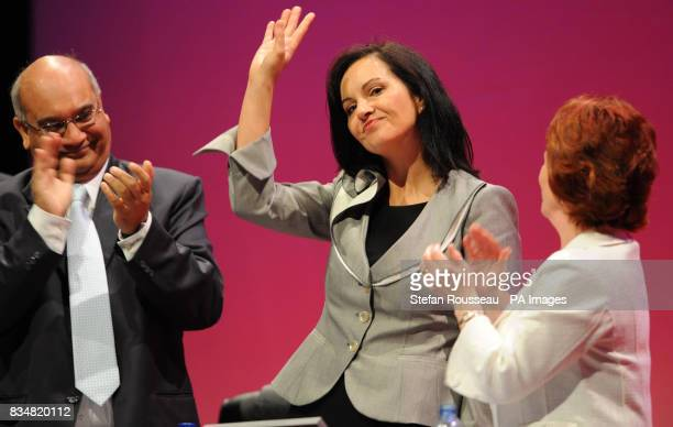 Housing Minister Caroline Flint is applauded after addressing the Labour Party conference in Manchester today