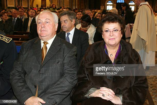 Housing minister Christine Boutin with her husband in the Lisieux Basilica France on October 19 2008