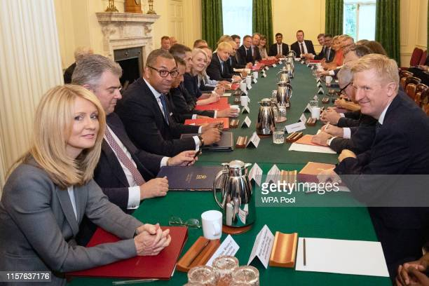Housing Minister Esther McVey looks on as Prime Minister Boris Johnson presides over his first Cabinet meeting at 10 Downing Street on July 25 2019...