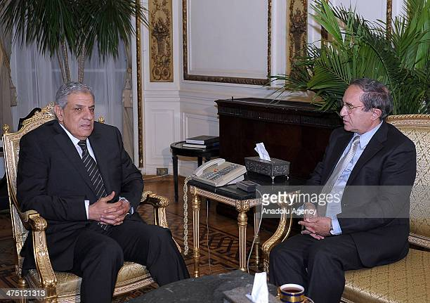 Housing Minister of Egypt Ibrahim Mehleb charged with forming the new government by Interim President Adly Mansour meets with Osama AlGhazali founder...