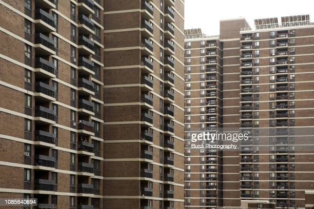 housing project in the lower east side, manhattan, new york city - council flat stock pictures, royalty-free photos & images