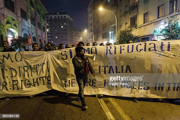 Housing rights activists take part in a demonstration to protest against Jubilee and forced housing evictions in Rome and to ask for the respect of...