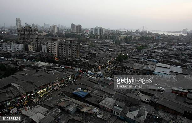 Housing Slums Dharavi Skyline Aerial View of Dharavi in Mumbai
