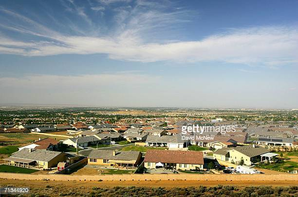 Housing tracts spread out near the San Andreas Fault as suburban sprawl continues on June 29 2006 near Palmdale California Scientists are warning...
