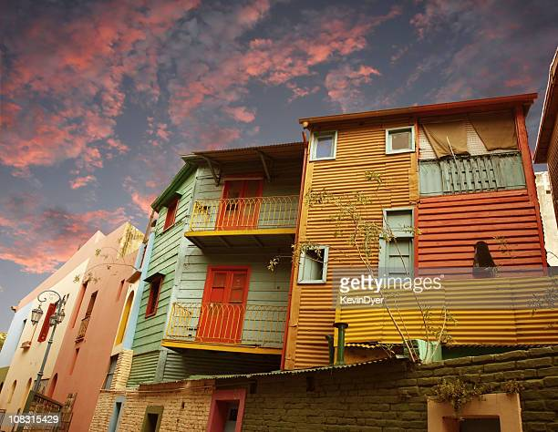Housing units at sunset in La Boca, Buenos Aires