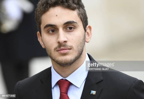 Houssam a son of Lebanese Prime Minister leaves after meeting with French President at the Elysee Presidential Palace on November 18 2017 in Paris...