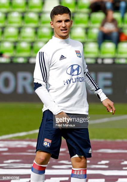 Houssem Aouar during the Ligue 1 match between Metz and Olympique Lyonnais at on April 8 2018 in Metz