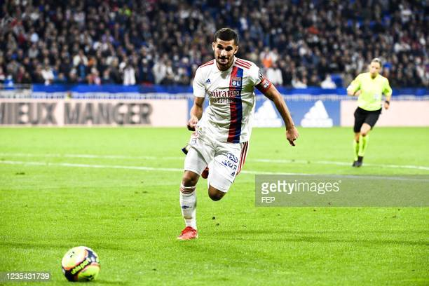 Houssem AOUAR during the Ligue 1 Uber Eats match between Lyon and Troyes at Groupama Stadium on September 22, 2021 in Lyon, France.