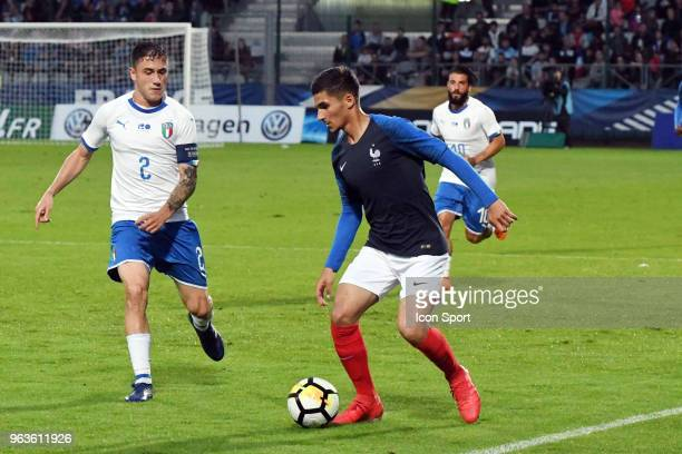 Houssem Aouar during the U21 International Friendly match between France and Italy on May 29 2018 in Besancon France