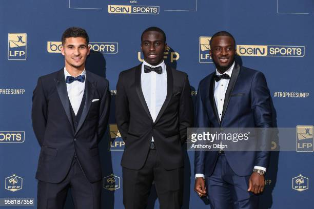 Houssem Aouar Ferland Mendy and Tanguy Ndombele of Lyon during the ceremony for the UNFP Trophy Awards at Studio Gabriel on May 13 2018 in Paris...