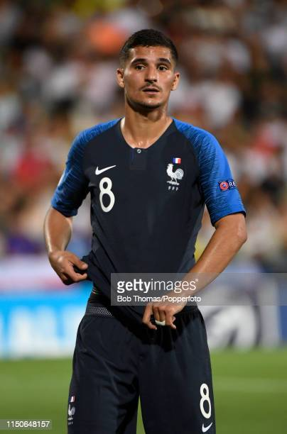 Houssem Aouar in action for France during the 2019 UEFA U21 Championship Group C match between England and France at Dino Manuzzi Stadium on June 18...