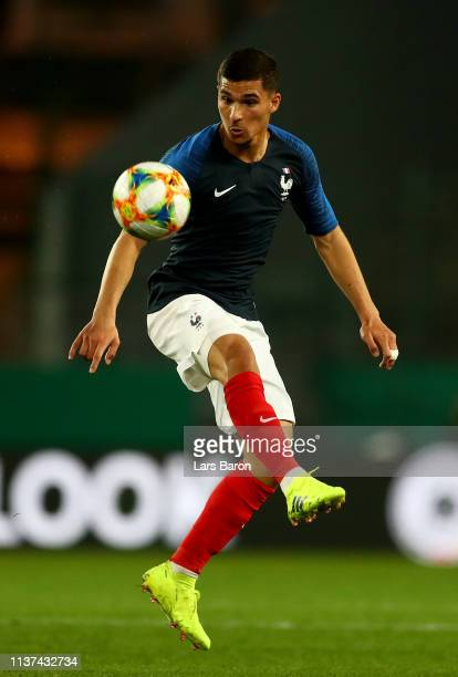 Houssem Aouar of france runs with the ball during the Germany U21 v France U21 International Friendly match on March 21 2019 in Essen Germany