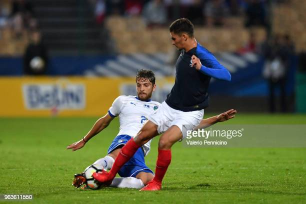 Houssem Aouar of France U21 clashes with Davide Calabria of Italy U21 during the International Friendly match between France U21 and Italy U21 on May...