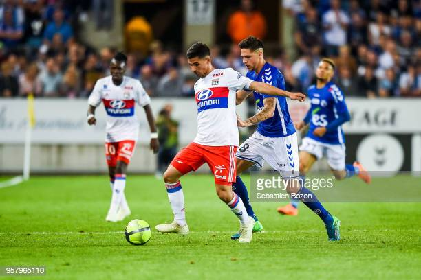 Houssem Aouar of Lyon and Jonas Martin of Strasbourg during the Ligue 1 match between Strasbourg and Olympique Lyonnais on May 12 2018 in Strasbourg