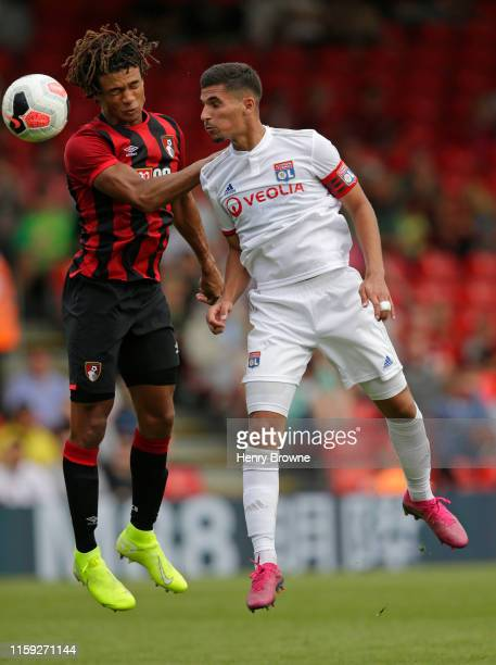 Houssem Aouar of Lyon and Nathan Ake of Bournemouth during the PreSeason Friendly match between AFC Bournemouth and Lyon at Vitality Stadium on...