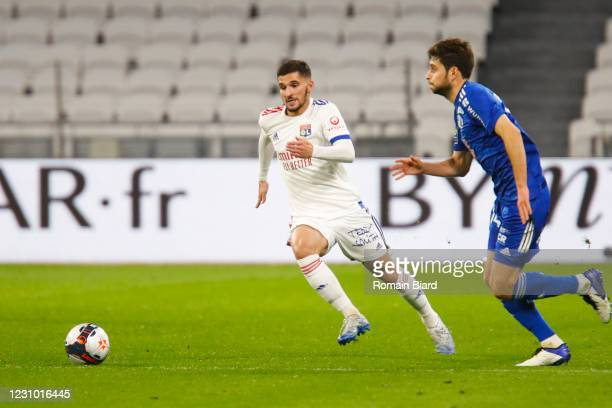 Houssem AOUAR of Lyon and Sanjin PRCIC of Strasbourg during the Ligue 1 soccer match between Olympique Lyonnais and Strasbourg at Groupama Stadium on...