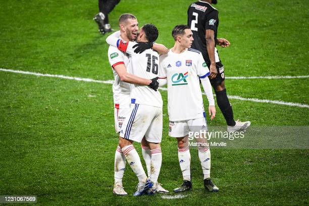 Houssem AOUAR of Lyon celebrate his goal with teammates during the french cup match between Lyon and Ajaccio at Groupama Stadium on February 9, 2021...