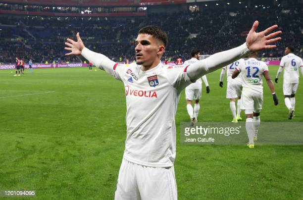Houssem Aouar of Lyon celebrates his goal during the French League Cup semifinal match between Olympique Lyonnais and Lille OSC at Groupama Stadium...