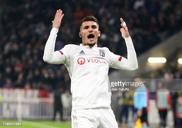 Houssem Aouar of Lyon celebrates his goal during the UEFA Champions League group G match between Olympique Lyonnais and RB Leipzig at Groupama...