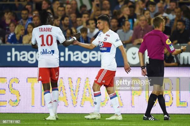 Houssem Aouar of Lyon celebrates scoring during the Ligue 1 match between Strasbourg and Lyon at Stade de la Meinau on May 12 2018 in Strasbourg