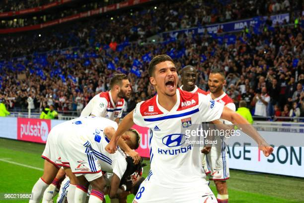 Houssem Aouar of Lyon celebrates the second goal during the Ligue 1 match between Olympique Lyonnais and OGC Nice at Parc Olympique on May 19 2018 in...