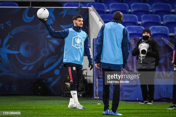 Houssem AOUAR of Lyon during the french cup match between Lyon and Ajaccio at Groupama Stadium on February 9, 2021 in Lyon, France.