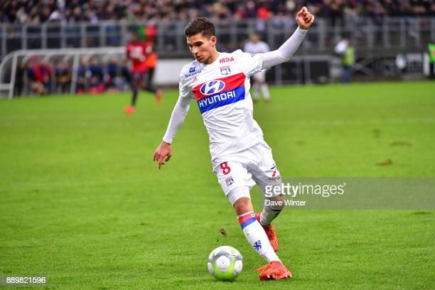 Houssem Aouar of Lyon during the Ligue 1 match between Amiens SC and Olympique Lyonnais at Stade de la Licorne on December 10 2017 in Amiens France